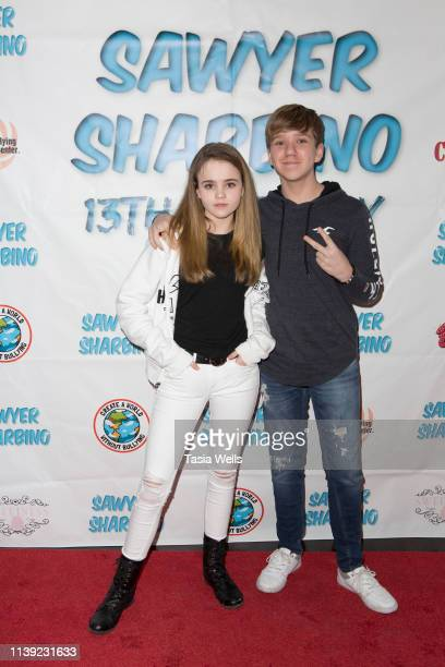 Megan Stott and Duncan Stott attend Sawyer Sharbino's 13th Birthday/AntiBullying Charity Event on March 29 2019 in Sherman Oaks California