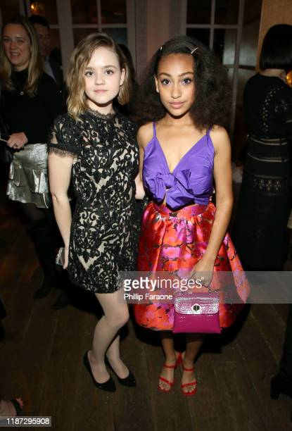 Megan Stott and Lexi Underwood attend the Hulu LA Press Party 2019 at Spago on November 12 2019 in Beverly Hills California