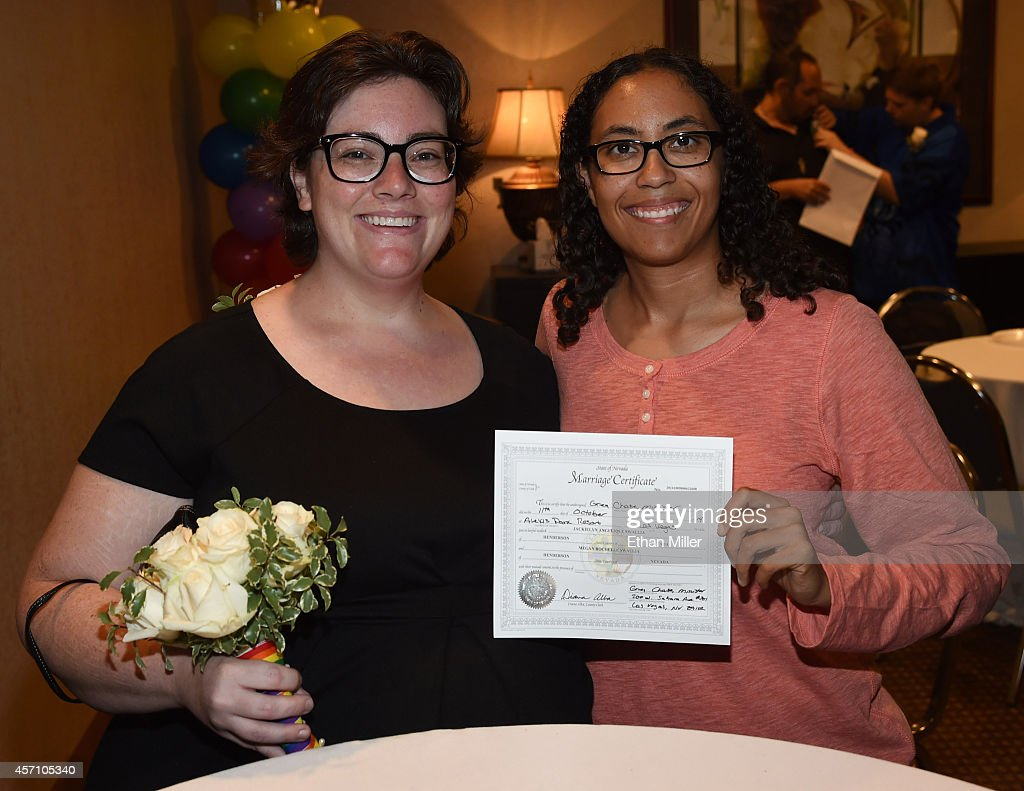 Same sex couples marry in las vegas after court ruling photos and megan swallia l and jacky swallia both of nevada display their marriage 1betcityfo Gallery