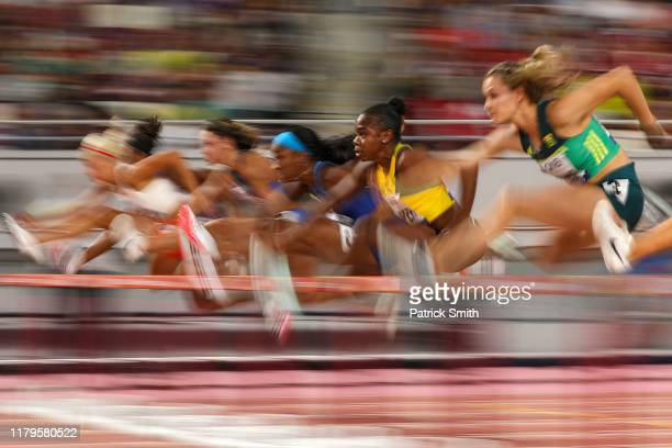 Megan Tapper of Jamaica competes in the Women's 100 metres hurdles semi finals during day ten of 17th IAAF World Athletics Championships Doha 2019 at...