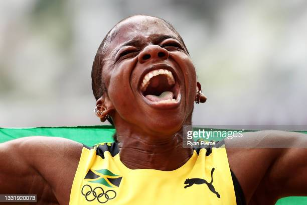 Megan Tapper of Team Jamaica reacts after winning the bronze medal in the Women's 100m Hurdles Final on day ten of the Tokyo 2020 Olympic Games at...