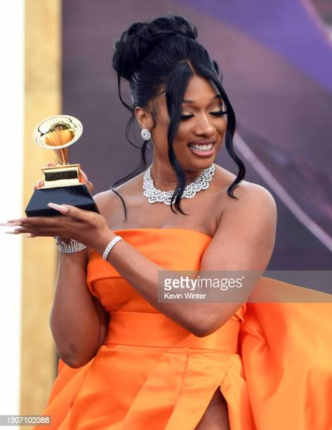 Megan Thee Stallion accepts the Best New Artist award onstage during the 63rd Annual GRAMMY Awards at Los Angeles Convention Center on March 14, 2021...