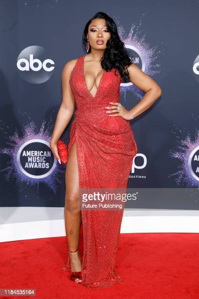 STATES NOVEMBER 24 2019 Megan Thee Stallion at the 2019 American Music Awards arrivals at Microsoft Theater PHOTOGRAPH BY P Lehman / Barcroft Media