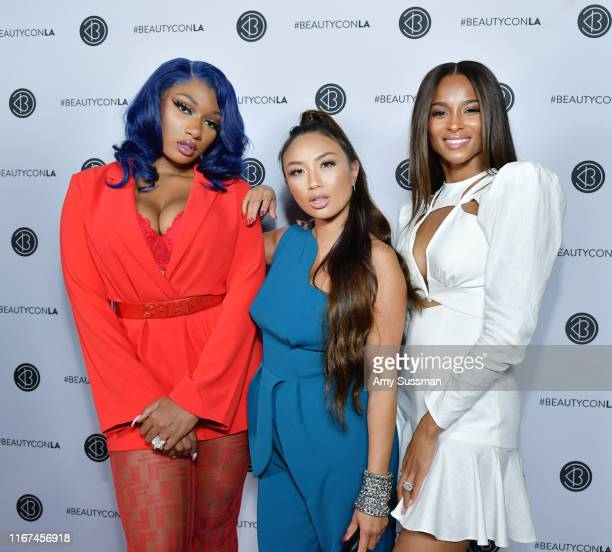 Megan Thee Stallion Jeannie Mai and Ciara attend Beautycon Festival Los Angeles 2019 at Los Angeles Convention Center on August 11 2019 in Los...