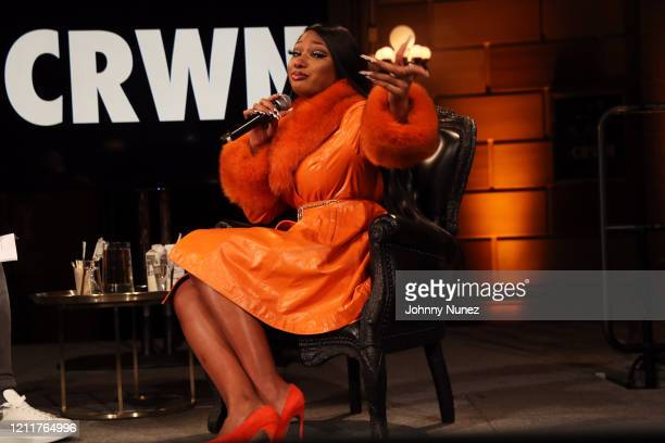 Megan Thee Stallion speaks onstage at #CRWN A Conversation With Elliott Wilson And Megan Thee Stallion at Gotham Hall on March 10 2020 in New York...