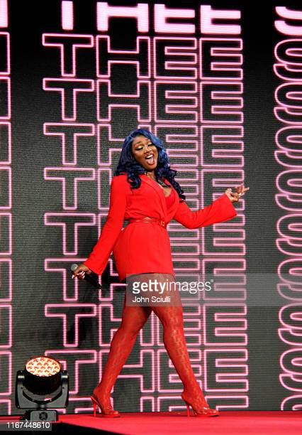 Megan Thee Stallion speaks onstage during Beautycon Festival Los Angeles 2019 at Los Angeles Convention Center on August 11 2019 in Los Angeles...