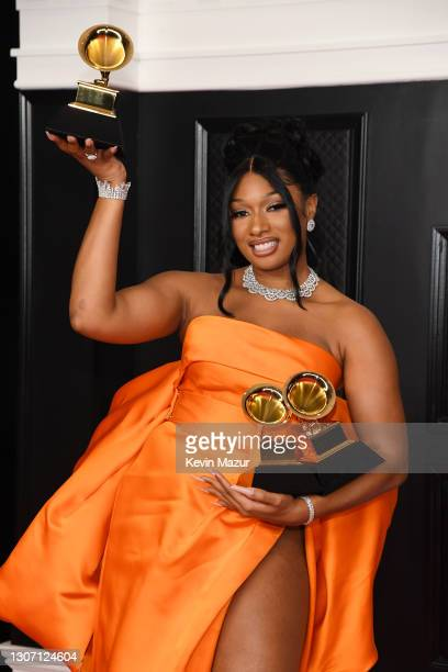 Megan Thee Stallion, winner of the Best Rap Performance and Best Rap Song awards for 'Savage' and the Best New Artist award, poses in the media room...