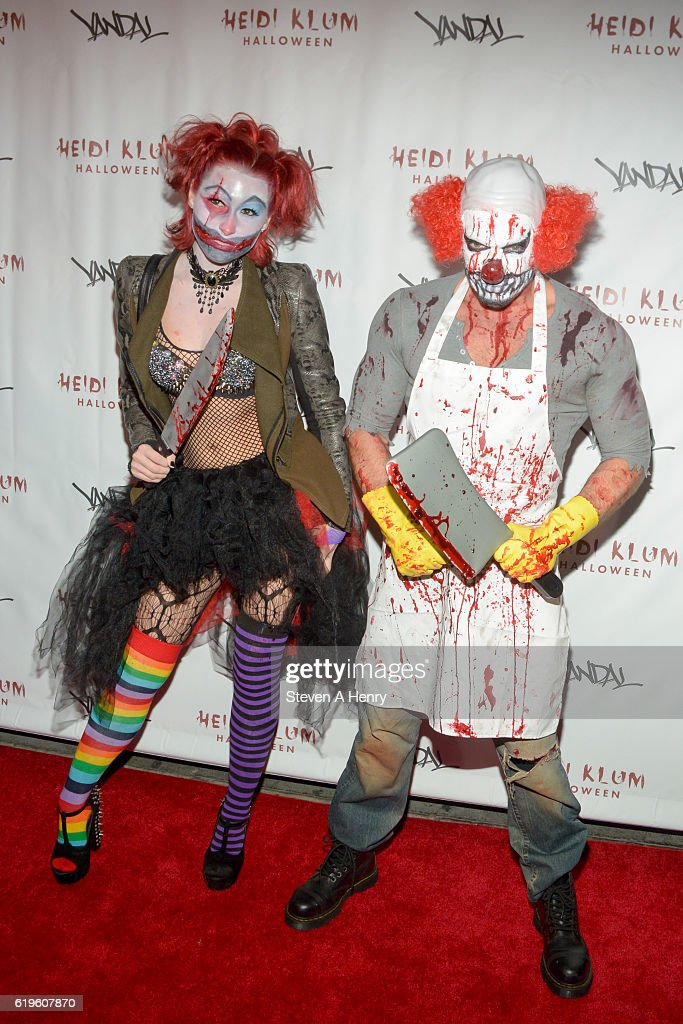 Megan Thompson and Jamie McCarthy attend Heidi Klum's 17th Annual Halloween Party at Vandal on October 31, 2016 in New York City.
