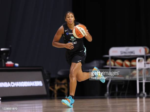 Megan Walker of the New York Liberty dribbles the ball up court during the game on August 2, 2020 at Feld Entertainment Center in Palmetto, Florida....