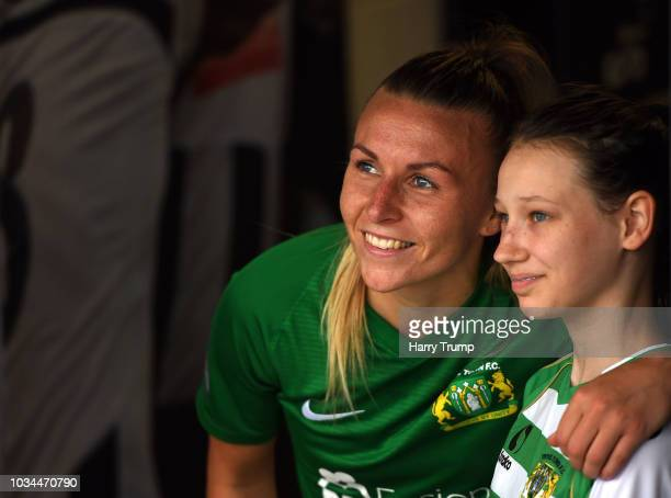 Megan Walsh of Yeovil Town Ladies poses with a fan during the FA Women's League Cup match between Yeovil Town Ladies and Tottenham Ladies at The...
