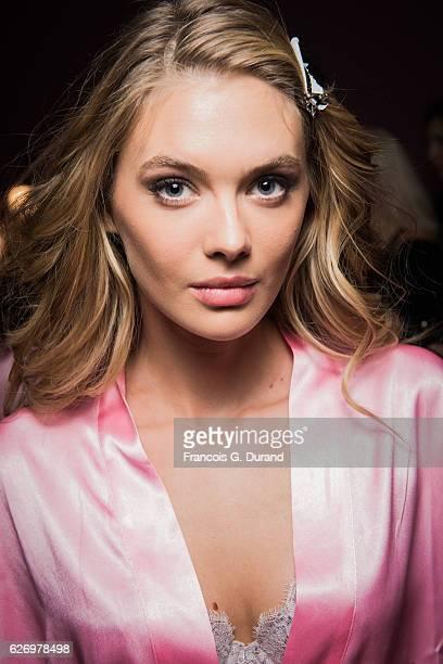 Megan Williams poses backstage prior the 2016 Victoria's Secret Fashion Show on November 30 2016 in Paris France