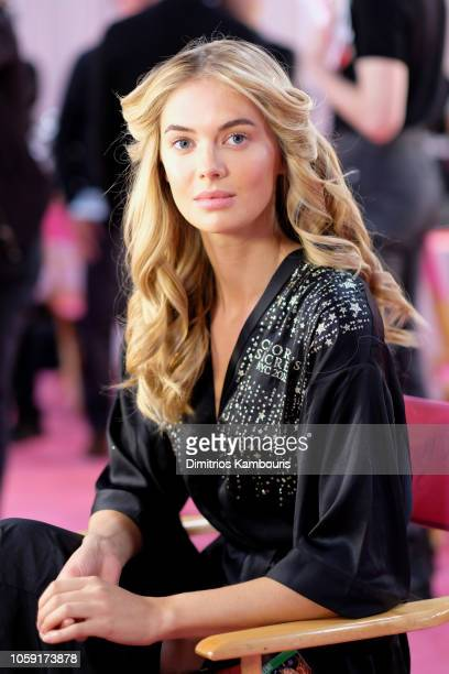 Megan Williams prepares backstage during the 2018 Victoria's Secret Fashion Show in New York at Pier 94 on November 8 2018 in New York City