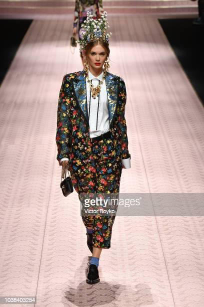 Megan Williams walks the runway at the Dolce Gabbana show during Milan Fashion Week Spring/Summer 2019 on September 23 2018 in Milan Italy