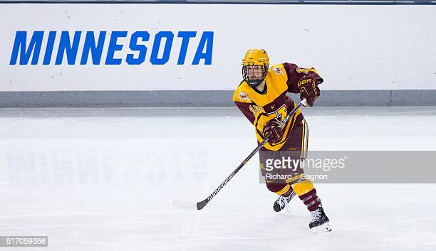 Megan Wolfe of the Minnesota Golden Gophers skates against the Boston College Eagles during the 2016 NCAA Division I Women's Hockey Frozen Four...