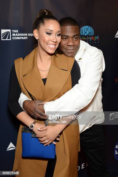 Megan Wollover and Tracy Morgan attend the 2017 Garden of Laughs at Madison Square Garden on March 28 2017 in New York City