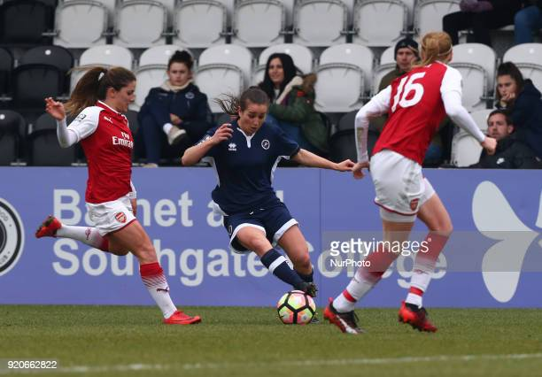 Megan Wynne of Millwall Lionesses L during The FA Women's Cup Fifth Round match between Arsenal against Millwall Lionesses at Meadow Park Borehamwood...
