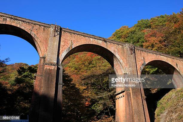 megane-bridge seen from usui-toge - gunma prefecture stock photos and pictures