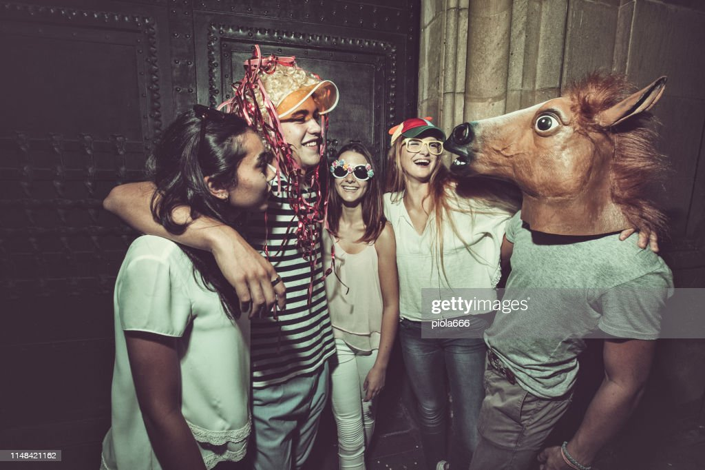Megaparty: friends party wild in the streets : Stock Photo