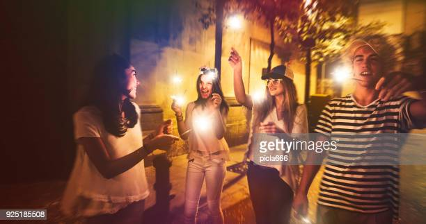 Megaparty: friends party wild in the streets
