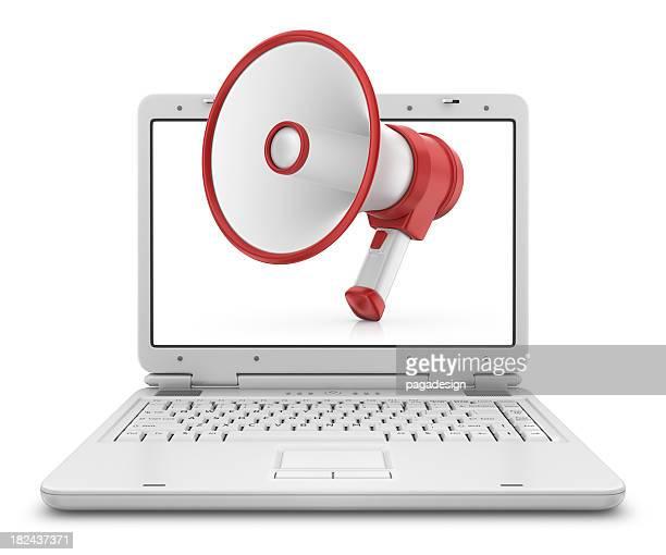 megaphone in laptop