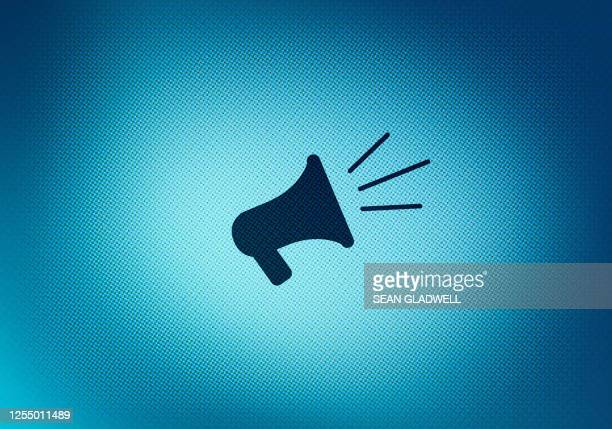 megaphone symbol on screen - demokratie stock-fotos und bilder