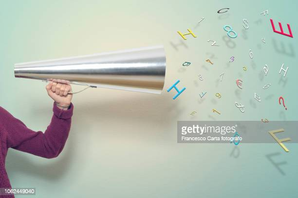 megaphone with letters and numbers - abc broadcasting company stock pictures, royalty-free photos & images