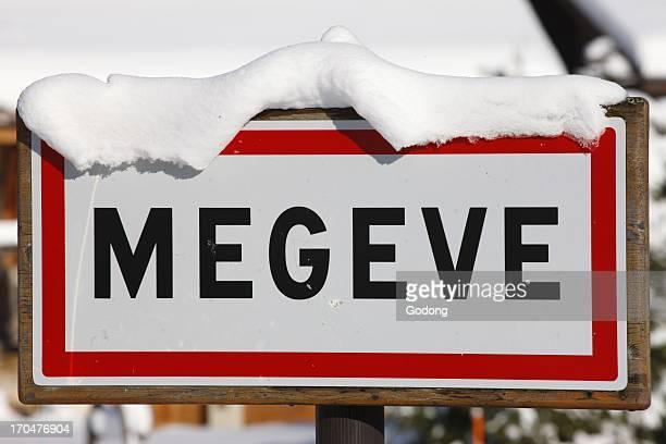Megeve town sign, France.