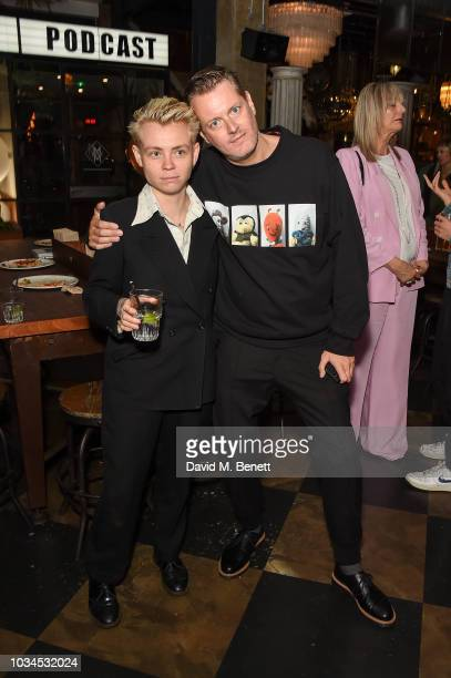 Meggie Cousland and JeanFrancois Carly attend the Izzue x Ponystep London Fashion Week party at Mare Street Market on September 16 2018 in London...