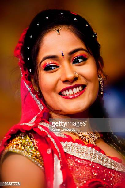 Megha the happy and gorgeous bride wearing traditional attire at the 'Sangeet' Function on January 2 2012 at Farm House in Sonai Maji Rajasthan India