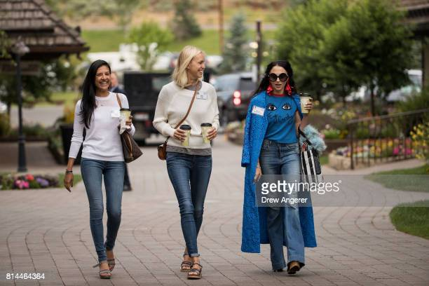 Megha Tolia Lucy Page and Stacey Bendet attend the fourth day of the annual Allen Company Sun Valley Conference July 14 2017 in Sun Valley Idaho...
