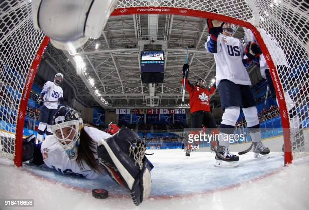 Meghan Agosta of Canada scores against the United States during the Women's Ice Hockey Preliminary Round Group A game on day six of the PyeongChang...
