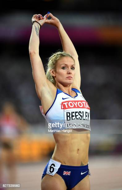 Meghan Beesley of Great Britain prepares to compete in the Women's 400 metres hurdles heats during day four of the 16th IAAF World Athletics...