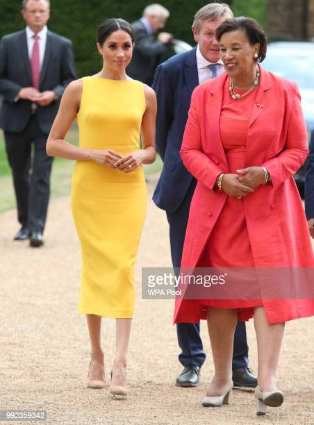 Meghan Duchess of Sussex accompanied by Commonwealth secretary general Baroness Scotland arrives to attend the Your Commonwealth Youth Challenge...