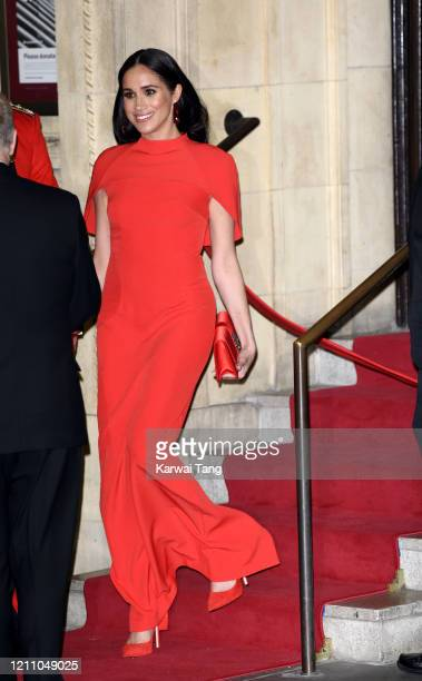 Meghan Duchess of Sussex accompanied by Prince Harry Duke of Sussex attends the Mountbatten Festival of Music at Royal Albert Hall on March 07 2020...