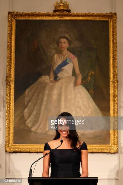 Meghan Duchess of Sussex addresses a reception hosted by the GovernorGeneral celebrating the 125th anniversary of women's suffrage in New Zealand at...