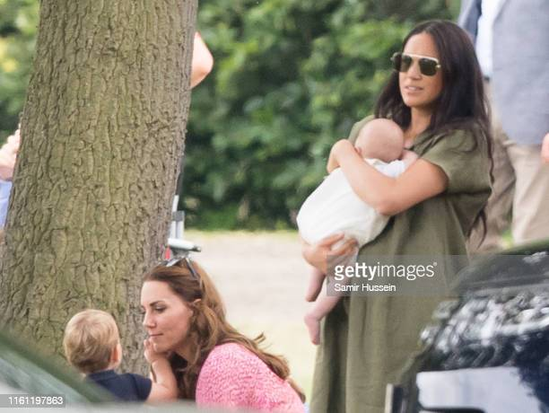 Meghan, Duchess of Sussex and Archie Harrison Mountbatten-Windsor, Catherine, Duchess of Cambridge and Prince Louis attend The King Power Royal...