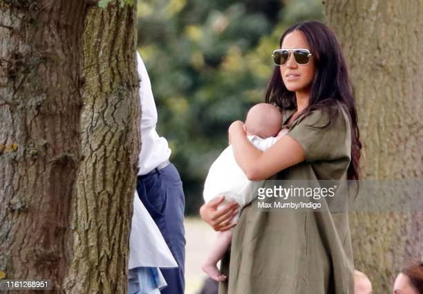 Meghan, Duchess of Sussex and Archie Harrison Mountbatten-Windsor attend the King Power Royal Charity Polo Match, in which Prince William, Duke of...