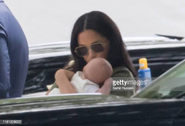 Meghan Duchess of Sussex and Archie Harrison MountbattenWindsor attend The King Power Royal Charity Polo Day at Billingbear Polo Club on July 10 2019...