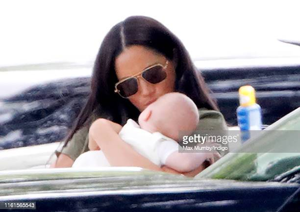 Meghan Duchess of Sussex and Archie Harrison MountbattenWindsor attend the King Power Royal Charity Polo Match in which Prince William Duke of...