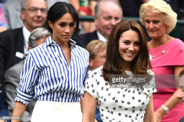 Meghan, Duchess of Sussex and Catherine, Duchess of Cambridge attend day twelve of the Wimbledon Lawn Tennis Championships at All England Lawn Tennis...