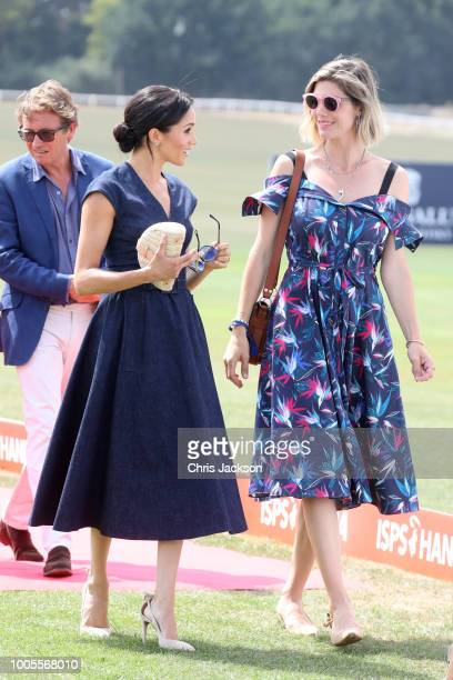 Meghan Duchess of Sussex and Delfina Figueras arrive for the Sentebale Polo 2018 held at the Royal County of Berkshire Polo Club on July 26 2018 in...