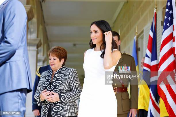 Meghan Duchess of Sussex and Her Excellency Lady Lynne Cosgrove attend a Welcome Event at Admiralty House on October 16 2018 in Sydney Australia The...