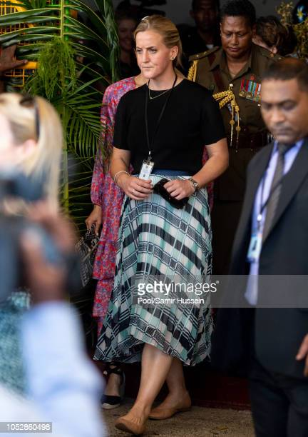 Meghan Duchess of Sussex and her protection officer visit Suva Market to meet some of the female vendors who have been involved in the UN Women's...