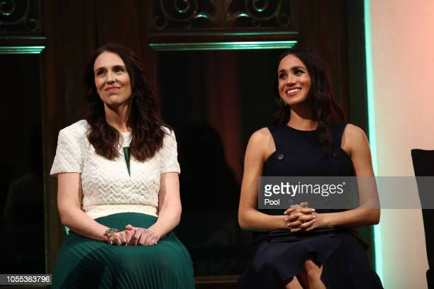 Meghan Duchess of Sussex and Prime Minister Jacinda Ardern attend the Auckland War Memorial Museum for a reception on October 30 2018 in Auckland New...