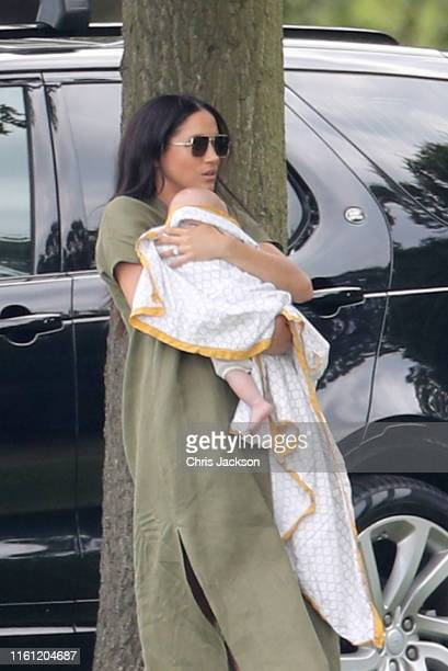 Meghan Duchess of Sussex and Prince Archie Harrison MountbattenWindsor attend The King Power Royal Charity Polo Day at Billingbear Polo Club on July...