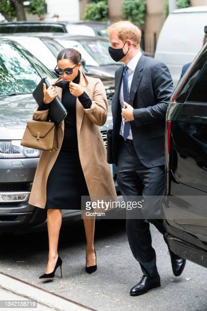 Meghan, Duchess of Sussex, and Prince Harry, Duke of Sussex, are seen in Midtown on September 23, 2021 in New York City.