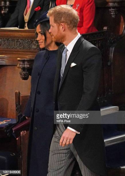 Meghan Duchess of Sussex and Prince Harry Duke of Sussex arrive ahead of the wedding of Princess Eugenie of York to Jack Brooksbank at Windsor Castle...