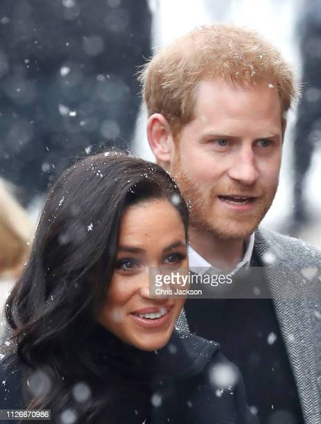 Meghan Duchess of Sussex and Prince Harry Duke of Sussex arrive at the Bristol Old Vic on February 01 2019 in Bristol England The Duke and Duchess...