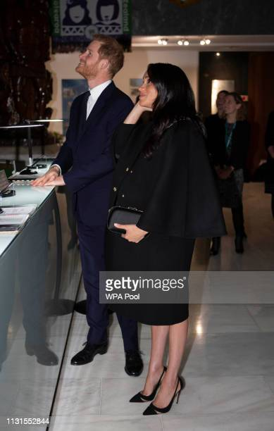Meghan Duchess of Sussex and Prince Harry Duke of Sussex arrive at New Zealand House on March 19 2019 in London England The visit was following the...