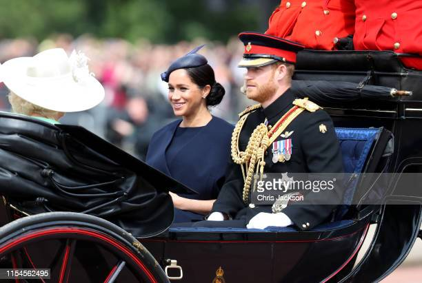 Meghan Duchess of Sussex and Prince Harry Duke of Sussex arrive at Trooping The Colour the Queen's annual birthday parade on June 08 2019 in London...